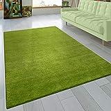 Paco Home Teppich Handgeknotet Gabbeh Hochwertig 100% Wolle Dezent Meliert Grün, Grösse:10x10 cm Musterstück