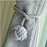 DO4U-Ein Paar handgestrickte Vorhang-Raffhalter grau