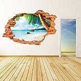 AUVS 3D- Selbstklebende Abnehmbaren Durchbrechen Die Mauer Vinyl Wandsticker / Wandgemälde Kunst Aufkleber Dekorateur (8001F Kokosnuss Meeresstrand (60 * 90cm))