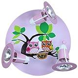 Elobra Kinder Lampe Rondell Eulen Familie Deckenleuchte Kinderzimmer Holz, rosa 128275