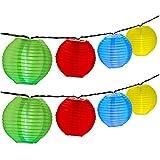 OMOTON LED Solar Lichterkette Lampion fürGarten Weihnachten Party Hochzeit Innen und Außen. [Wasserfest] [buntesLampion] [Lichtsensor] [34 Stück]