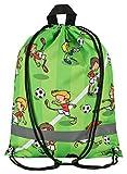 Aminata Kids - Kinder-Turnbeutel für Junge-n mit für Echt-e Sport Fan-Artikel Ecke-n Motiv verstärkt WM FIFA Fussball Sport-Tasche-n Gym-Bag Sport-Beutel-Tasche Gruen