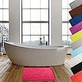 MSV Badteppich Badvorleger Duschvorleger Kieselstein Badematte waschbar, schnelltrocknend, rutschfest 40x60 cm - Pink