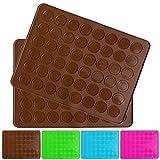 Belmalia 2x Macarons Backmatte aus Silikon für 24 perfekte Makronen 48 Mulden antihaftbeschichtet 38x28cm Braun