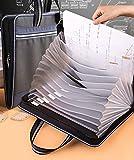NACEO Expanding File Folder Akkordeontasche - Tragbare Dokumententasche Mit Reißverschluss - A4- Und Familienschein-Dokumentenablage Mit Farbiger Lasche (13 Fächer),Schwarz