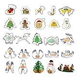 25-Teiliges Weihnachts Ausstechformen Set aus Edelstahl, Fondant Ausstechformen 3D Ausstecher Fondant Modellierwerkzeug Backen Küche Tortenzubehör Set - Backzubehör für Weihnachten Kindergeburtstag