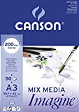 Canson 200006007 Imagine Mix-Media Papier, A3, rein weiß