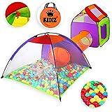 KIDIZ Spielzelt Spielhaus Babyzelt 200 Bälle Bällebad Kinderzelt | Ideal für Zuhause & im Garten | Tasche | Tunnel, Größe: XXL