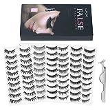 Lurrose 60 Paar 6 Stile Falsche Wimpern Dicke Lange Künstliche Eyelashes für wimpern verlängerung, 10 Paare Schwarz Wimpern Jeder Style, Wimpernpinzette Inbegriffen