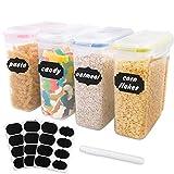 Outuxed 4er-Set 2.5L Vorratsdosen Set Frischhaltedosen Kunststoff Korn-Plastikvorratsbehälter mit Aufklebern und Stift, 4 Farben