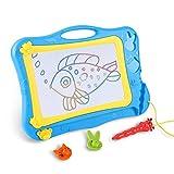 DUTISON Zaubertafel Maltafel Magnettafel für Kinder mit 2 Form Stempeln (31 * 21,5 cm Zeichenfläche Blau)