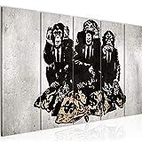 Bilder Banksy Street Art Affen Wandbild 200 x 80 cm Vlies Leinwand Bild XXL Format Wandbilder Wohnzimmer Wohnung Deko Kunstdrucke MADE IN GERMANY Fertig zum Aufhängen 303455b