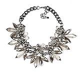 Blumen Statementkette Blumenkette mit Kristallsteinen Florale Statement Halskette mit Kristallen in Silber-Optik von DesiDo