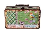 Sarah B Truhe Kiste KD 1290 Koffer, Kofferset, Holztruhe mit edlem Leder bezogen im Vintage Look, Schatzkiste,Kiste, Piratenkiste, Kleinmöbel, Antikoptik, HolzKolonialtruhe, Kolonialstil, Holzbox
