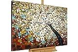 KunstLoft Gemälde 'Zauber im Baumwipfel' in 120x80cm | XXL Leinwandbild handgemalt | Baum Weiß Kirschblüten Blüte Braun | Wandbild-Unikat | Acrylgemälde auf Leinwand | Großes Acrylbild auf Keilrahmen