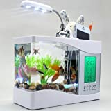 MFEIR Aquarium klein mini USB Zierfisch oekologisch Fischglas,Weiß