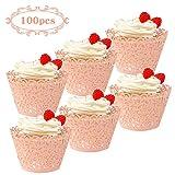 Akrcheft 100 Stück Rosa Lace Cupcake Wrapper Kuchen Verpackung Lasergeschnitten Muffinförmchen Papierbecher Dekoration Kit für Hochzeit Geburtstag Jubiläum Babydusche
