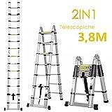 FIXKIT 3,8M Alu Teleskopleiter Klappleiter ausziehbare Leiter Teleskop-Design 150 kg Belastbarkeit
