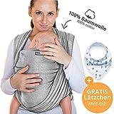 Babytragetuch aus 100% Baumwolle - Hellgrau - hochwertiges Baby-Tragetuch für Neugeborene und Babys bis 15 kg - inkl. GRATIS Baby-Lätzchen