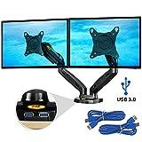 Ergosolid NB F160 - Full Motion Doppel-Tischhalterung mit 2 Armen für 2 Monitore 17'-27' 2 x USB 3.0 Schnittstelle im Standfuß