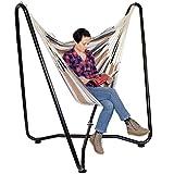 AMANKA Hängestuhlgestell 155cm inkl. Hängestuhl 100% Baumwolle Hängesessel Ständer max. 150KG freistehendes mobiles Metallgestell f. Innen- und Außen