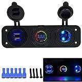 Samoleus 3 in 1 4.2A Auto Motorrad Boot Dual USB Ladeadapter und LED Voltmeter und Motorrad Zigarettenanzünder (3 in 1 Panel)
