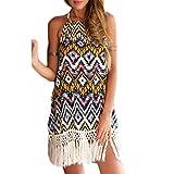 Frauen Mode ärmellos Rückenfrei Trägerlos Print Gemustert Ethno Fransen Beachwear Minikleid Neckholderkleider Kleid Freizeitkleider (S)