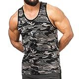SMILODOX Camouflage Tank Top Herren   Muskelshirt ideal für Sport Gym Fitness & Bodybuilding   Muscle Shirt - Stringer - Tanktop - Unterhemd - Achselshirt, Größe:L, Farbe:Anthrazit Camo
