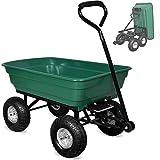 Gartenkarre aus Kunststoff  Kippfunktion  Lenkachse  Luftreifen - Transportwagen Bollerwagen Muldenkipper Kippwagen Transportkarre Gartenwagen