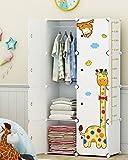 Koossy Erweiterbares Kinderregal Kinder Kleiderschrank mit Giraffe Aufkleber für Kinderzimmer (Weiß 8 Cube)