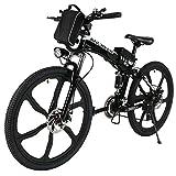 ANCHEER Faltbares Elektrofahrrad, 26 E-Bike Elektrisches Mountainbike Pedelec mit Super leichte Magnesiumlegierung 6 Speichen Integrierte Räder, Premium Volle Suspension und Shimano 21 Zahnrad
