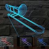 3D saxphone posaune Optische Illusions-Lampen, Tolle 7 Farbwechsel Acryl berühren Tabelle Schreibtisch-Nachtlicht mit USB-Kabel für Kinder Schlafzimmer Geburtstagsgeschenke Geschenk