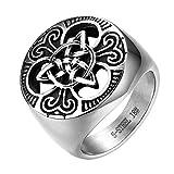 JewelryWe Schmuck Herren-Ring, Edelstahl Keltischer Knoten Triquetra Irischen Dreiecksknoten Gothic Siegelring Rund Ring, Silber, Größe 67