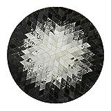 JJHOME-Teppiche Moderner runder Patchwork-Kuhfell-Teppich aus schwarzem und weißem Leder - 100-200 cm Durchmesser - Top-Qualität