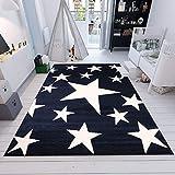 Fashion4Home Kinderteppich Sky Sterne | Kinderteppich für Mädchen und Jungen | Teppich für Kinderzimmer | Stern | Blau Rosa | Schadstofffrei Kinderzimmerteppiche