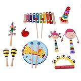 Sharplace Mini Musikinstrument für Kinder Baby, inkl. Hand Tamburin, Sand Hammer, Kastagnetten , Handglocke, Rassel, Tonrohr - 10pcs