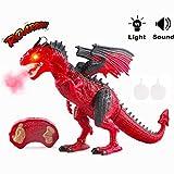 deAO funkgesteuerter intelligenter Dinosaurier-Roboter mit Raucheffekt, Licht und Geräuschen, Elektronisches Spielzeug (Rot)