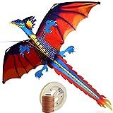 Jiu Bu Drachen Für Erwachsen - Dragon Kite - Flugdrachen Für Kinder, Inklusiv 200m Drachenschnur Und Streifenschwänze, 140cm X 160cm (Einschließlich Schwanz),Red