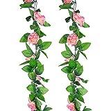 Meiliy 2er-Pack 4,50 m K�nstliche Rosen-Kletterpflanze Blumen Pflanzen K�nstliche Blumen Dekoration f�r Zuhause, B�ro, Hochzeit, Party, Gartendeko Champagne Pink