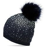 CASPAR MU188 Damen Fein Strick Glitzer Strass Winter Mütze mit Fellbommel, Farbe:rosa;Größe:One Size