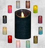 LED Echtwachskerze Kerze viele Farben mit Timer flackender Docht Wachskerze Kerzen Batterie, Größe:15 cm, Farbe:Antik Grün