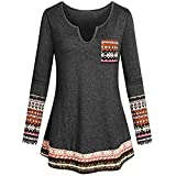 OverDose Damen Herbst Winter Daily Style Damen V-Ausschnitt Langarm Boho Patchwork Elegantes Tunika-Shirt mit Taschenbluse Langarmshirts Pullover Outwear(Grau,EU-44/CN-2XL)