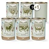 AniForte PureNature Nassfutter 5+1 getreidefrei Probierpaket 6x400g Huhn Büffel Wild Lamm Rind Hundefutter- Naturprodukt für Hunde