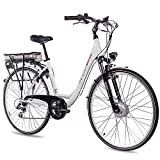 CHRISSON 28 Zoll E-Bike Trekking und City Bike für Damen - E-Lady Weiss mit 7 Gang Acera Kettenschaltung - Pedelec Damen mit Bafang Vorderradmotor 250W, 36V