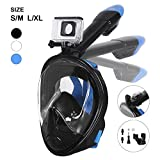 Tauchmaske, Unigear Faltbare Schnorchelmaske Tauchermaske Vollgesichtsmaske, mit 180 Grad Blickfeld und Kamerahaltung, Anti-Fog Anti-Leck Easybreath, für Erwachsene und Kinder (Schwarz L/XL)