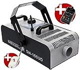 Showlite SN-1500D DMX Nebelmaschine mit Timer und Fernbedienung (1500W, 560m³ Nebelausstoß/min, 12 Min. Aufwärmzeit) silber
