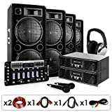DJ PA Set'Bass First Pro' 2x Amp 4x Boxen Mixer 4x 500W