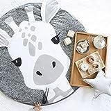 Kinder rund Krabbeldecke, Süß Tiere Baby Abenteuer Teppich, 100% Baumwolle Kinder Bodenspiel Spielmatte, Spielmatte für Kinderzimmer Dekorationen & Tipi Zelt (Giraffe)