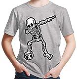 HARIZ  Jungen T-Shirt Dab Skelett mit Fussball Dab Teenager Dance Weihnachten Plus Geschenkkarten Hell Grau 128/7-8 Jahre