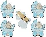 4 tlg. Set Deko Klammern aus Holz - Baby mit Glitzer für Jungen - Dekoklammern - zur Geburt Kinderwagen Schnuller Babymotiv Taufe Babys Babys blau z.B. für Bilder und Foto